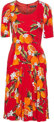Dolce & Gabbana Gathered Printed Stretch-silk Dress