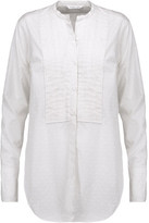 Helmut Lang Pintucked Distressed Striped Cotton-Poplin Top