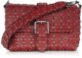 RED Valentino Red Studded Leather Flap Top Shoulder Bag