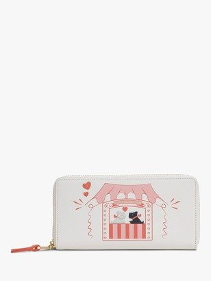 Radley Kissing Booth Leather Large Zip Around Purse, Chalk