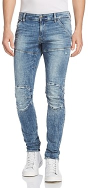 G Star 5620 3D Super Slim Fit Jeans in Light Vintage Aged Destroyed