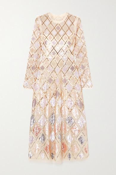 Needle & Thread Sequin Diamond Ballerina Embellished Tulle Midi Dress - Cream