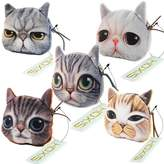 Hoxis Adorable 3D Cat and Dog Face Plush Coin Purse ( 5 pieces,)
