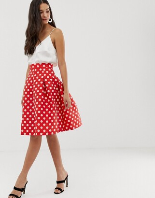 Closet London Closet gold pleated full skirt-Red