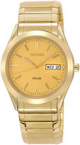 Seiko Mens Champagne Dial Gold-Tone Stainless Steel Solar Watch SNE058