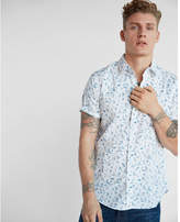 Express soft wash beach print short sleeve cotton shirt