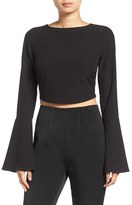 KENDALL + KYLIE Women's Bell Sleeve Crop Top