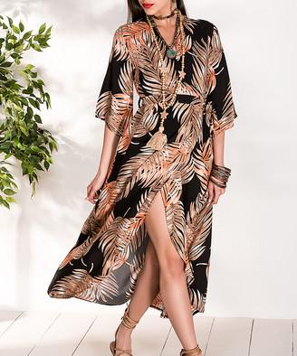 Milan Kiss Women's Special Occasion Dresses BLACK-BROWN - Tan & Black Palm Frond Wrap Dress - Women