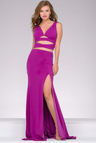 Jovani Jersey High Slit Two Piece Prom Dress 47501