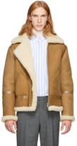 Acne Studios Tan Shearling Ian Aviator Jacket