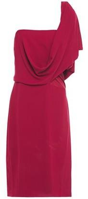 Halston One-shoulder Draped Crepe De Chine Dress