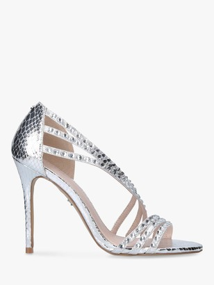 Carvela Goliath Embellished Heeled Sandals, Silver