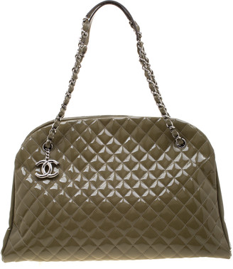 Chanel Olive Green Quilted Patent Leather Large Just Mademoiselle Bowling Bag