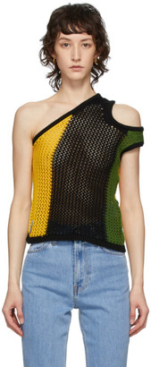Telfar Black and Yellow Mesh Asymmetric Tank Top
