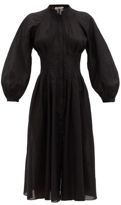 Three Graces London Valeraine Balloon-sleeved Cotton-gauze Shirt Dress - Black