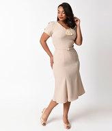 Stop Staring Plus Size Light Beige Cap Sleeve Railene Wiggle Dress