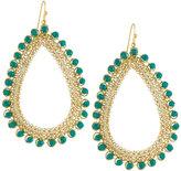Nakamol Golden Czech Crystal Teardrop Earrings, Green