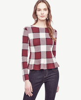 Ann Taylor Plaid Peplum Sweater