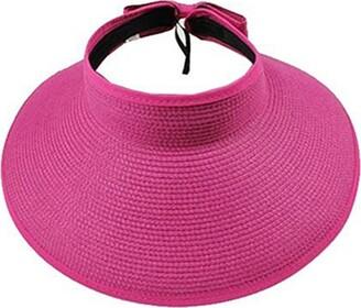 Zhoubaa ZHOUBA Women's Summer Wide Brim Roll Up Foldable Sun Beach Straw Braid Visor Sun Hat (Red)
