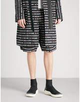 Sacai Text-print Cotton Shorts