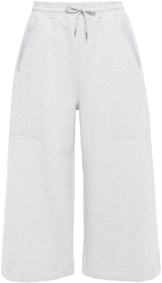 Ninety Percent Cropped Organic French Cotton-terry Wide-leg Pants