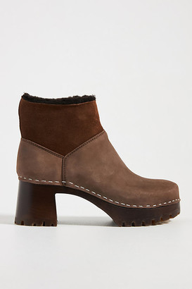 Swedish Hasbeens Shearling-Lined Ankle Boots By in Brown Size 38