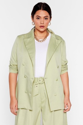 Nasty Gal Womens End Results Plus Double Breasted Blazer - Mint