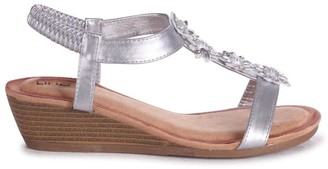 Linzi FLOWER - Silver Metallic Wedges Sandal With Floral Embellishment & Padded Footbed