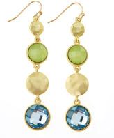 Greenbeads Green-Blue Crystal Drop Earrings