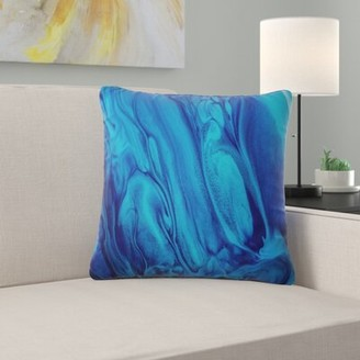 """East Urban Home Abstract Acrylic Paint Mix Pillow Size: 16"""" x 16"""""""