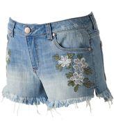 Tinseltown Juniors' Floral Denim Shortie Shorts