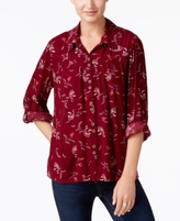 Style&Co. Style & Co Style & Co Petite Textured Paisley-Print Shirt, Created for Macy's