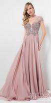 Terani Couture Scroll Rhinestone Scoop Back Chiffon Evening Dress