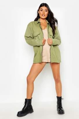 boohoo Zip Front Pocket Denim Jacket