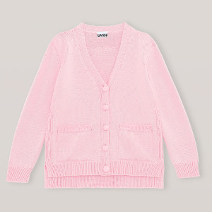 Ganni Pink Wool Knit Cardigan - Small