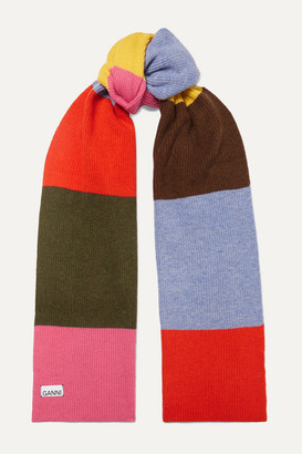 Ganni Striped Wool-blend Scarf - Pink