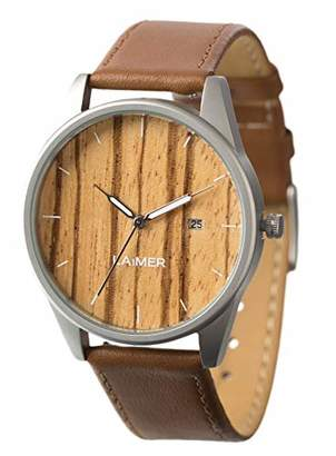 LAiMER wood watch NOA - mens wristwatch made of Zebrano wood and stainless steel case - nature & luxury lifestyle