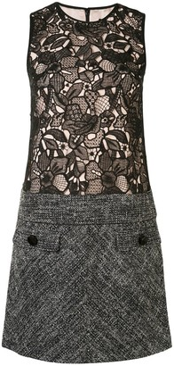 Paule Ka Lace Tweed-Panelled Shift Dress