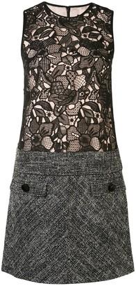 Paule Ka Lace Tweed-Panelled Shift Dress
