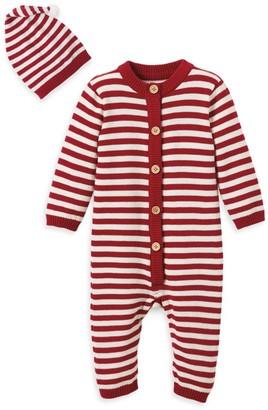 Elegant Baby Baby Boy's 2-Piece Striped Coverall & Faux Fur Pom-Pom Beanie Set