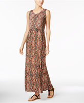 NY Collection Petite Printed Smocked Maxi Dress