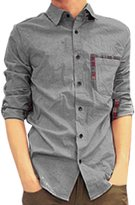 uxcell® Men Korean Style Long Sleeve Plaid Button up Casual Shirt S