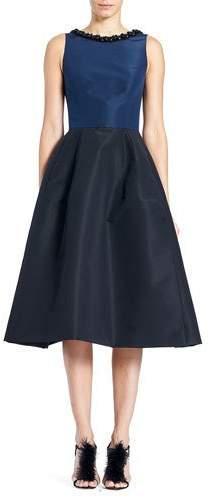 Carolina Herrera Sleeveless High-Neck 2-Tone Cocktail Dress w/ Embroidery