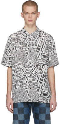 Alexander Wang Black and White Silk Logo Short Sleeve Shirt
