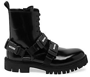 Moschino Men's Buckle Strap Chunky Ankle Boots