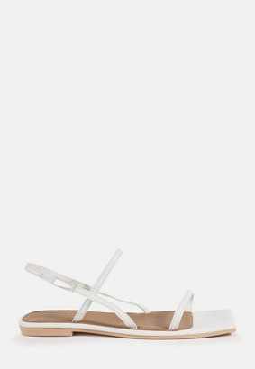 Missguided White Double Strap Slingback Flat Sandals