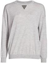 Brunello Cucinelli Monili Triangle Wool & Cashmere Knit Crewneck Sweater