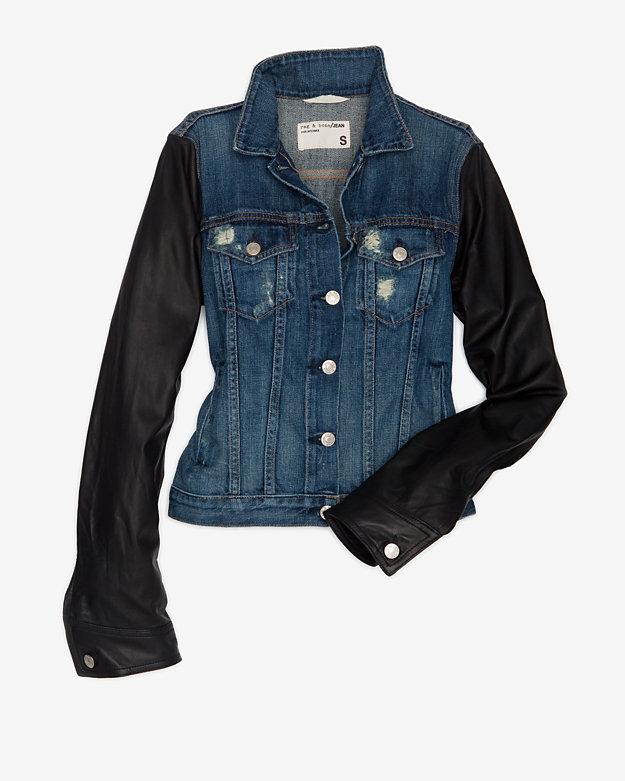 Rag and Bone Exclusive Leather Sleeve Denim Jacket