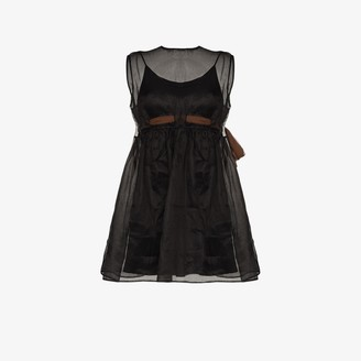 Miu Miu Sheer Sleeveless Empire Waist Ribbon Mini Dress