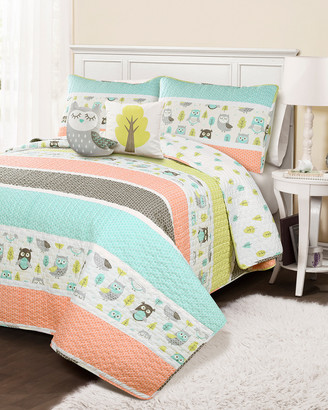 Triangle Home Fashion Fashions 4Pc Owl Twin Quilt Set